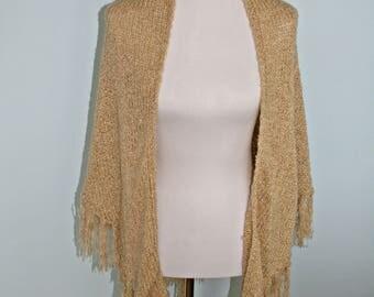 Francesca's cozy beige knit shawl poncho