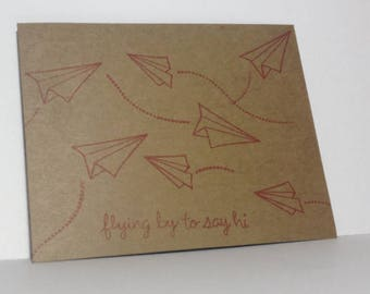 Postcard - flying by to say hi - Set of 10 - Kraft Brown Cardstock - Stamped Message in Multiple Ink Colors