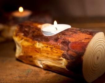 Tea Light Holder, Pine Log, Natural, Rustic, Candle
