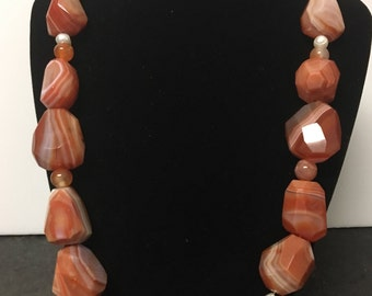 Chunky Carnelian and Agate Slab  Necklace