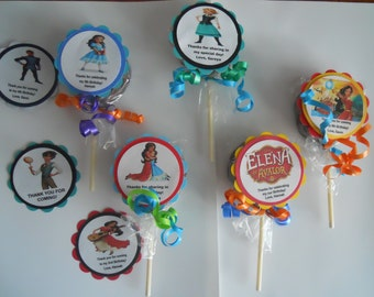 "24 Disney Elena of Avalor party favors 2"" hard candy swirl lollipops  2nd 3rd 4th 5th 6th 7th 8th 9th Birthday favors with custom tags"