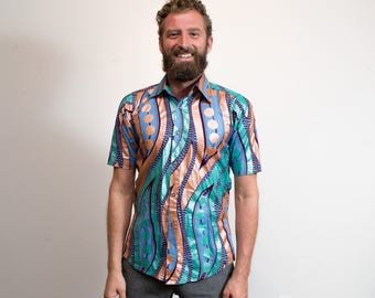 Mens Funky Shirt / Vintage Button up Eccentric Wild Colourful Bold Abstract Metallic Pattern Shirt