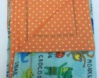 Baby Blanket, Pink, Flannel, Double Layered Reversible,  Girl, Self Binding, Receiving Blanket Gift