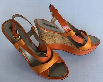 Via Spiga Vintage Cork Wedge Sandals