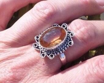 Yellow Gold Quartz and Tibetan silver ring