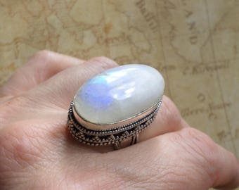 RING 925 sterling silver and Moonstone (BA177)