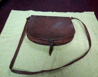 Vintage Handbag, 1960s/70s Rich Conker/ Brown Leather Saddle Bag, Shoulder Bag , Cross body Shoulder Purse