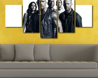 The Fate of the Furious poster fast and the furious canvas print painting wall art split canvas large framed poster bedroom kids nursery