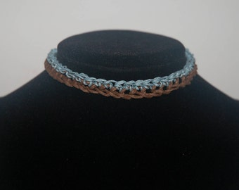 Choker: Striped Brown and Sky Blue