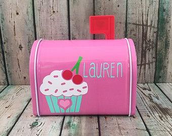 Cupcake Valentines Mailbox   Personalized Valentines Mailbox   Kids  Valentines Gift   Valentine Card Holder