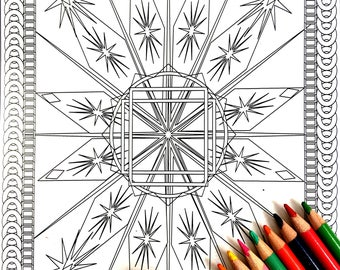 Snowflake, Adult Coloring Page, Intricate Design, Geometric Repeating Patterns, Symmetrical design,Instant Download, Grownup coloring
