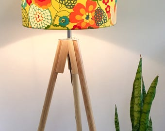 Retro blooms lampshade, with flowers, bright colours, retro design, made in australia