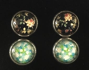 2 pairs Floral 12mm cabochon stud earrings//flower earrings//cabochon earrings//earrings set