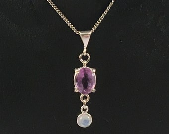Faceted Amethyst and Rainbow Moonstone Cabochon Pendant, February's Birthstone, Sterling Silver