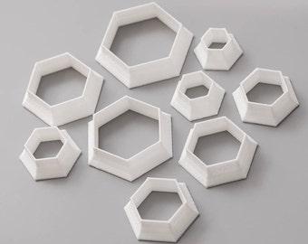 Cutter set (HEX#1), Metalclay Cutter Set. Polymer Clay Cutter Tools.