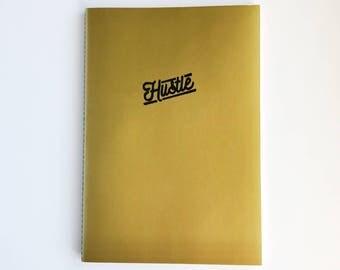Gold HUSTLE Notebook - Embossed Metallic Notebook