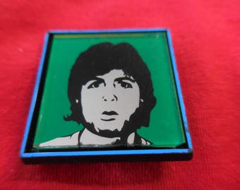 80s Paul McCartney Mirror Pin Back Button Vintage Wings Beatles