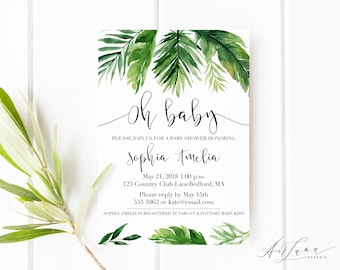 Botanical Baby Shower Invitation, Greenery Baby Shower Invitation, Botanical Watercolor Invitation, Tropical Monstera Baby Shower 019