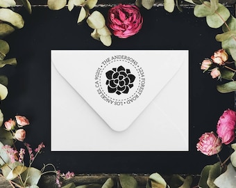 Address Stamp, custom address stamp, succulent return address stamp, wedding stamp - housewarming gift, rubber stamp or self inking stamp