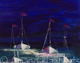 Ghost ships, boats, painting ,picture, acrylic, ocean,sea, ships, print, art, abstract art, modern art, gift