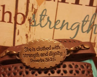 Inspirational bracelet Proberbs 31:25