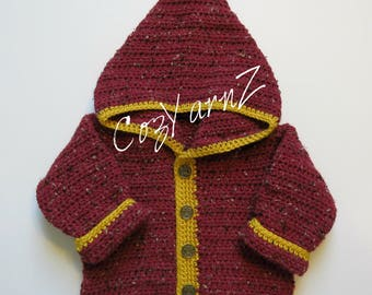 Toddler Sweater,  baby sweater, Crimson & Gold,  Hoodie, jacket, coat (9 to 12 month)  sports teams, handmade, crochet