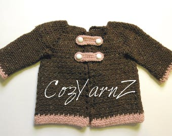 Toddler sweater, girl sweater, cozy, chocolate brown and pink, double button, CARDIGAN, SWEATER, JACKET, coat (12  to 18 month), crochet