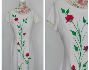 vintage late 1960s white wiggle dress with pink, red and green rose appliqué, union made