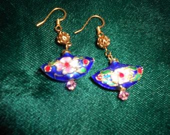 Blue fan coisonne earrings