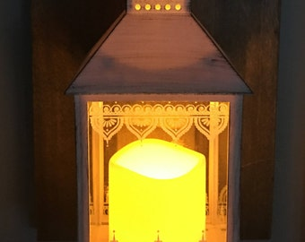 Pair of Custom Lantern Sconces with LED Candle