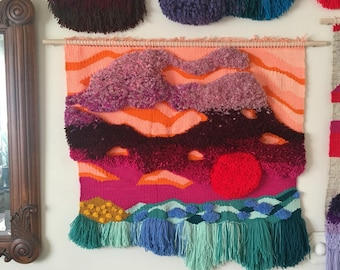 Red Sun on the Lake by Esther Marie Hall, an original woven sculptural painting