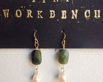 Beveled jade with freshwater pearls and 14k gold