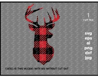 Plaid Deer, plaid Deer svg, buffalo Deer Head svg, Plaid svg, Fall svg,  antlers, SVG, DXF, Eps, Digital Download, cricut, silhouette