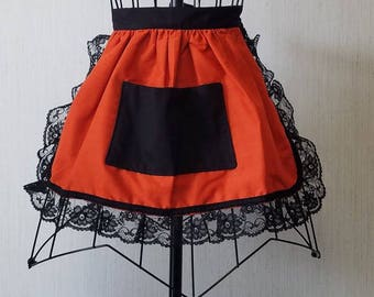 Orange and Black Lace Cotton Kids Apron