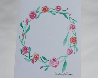 Greeting Card - Rose Wreath