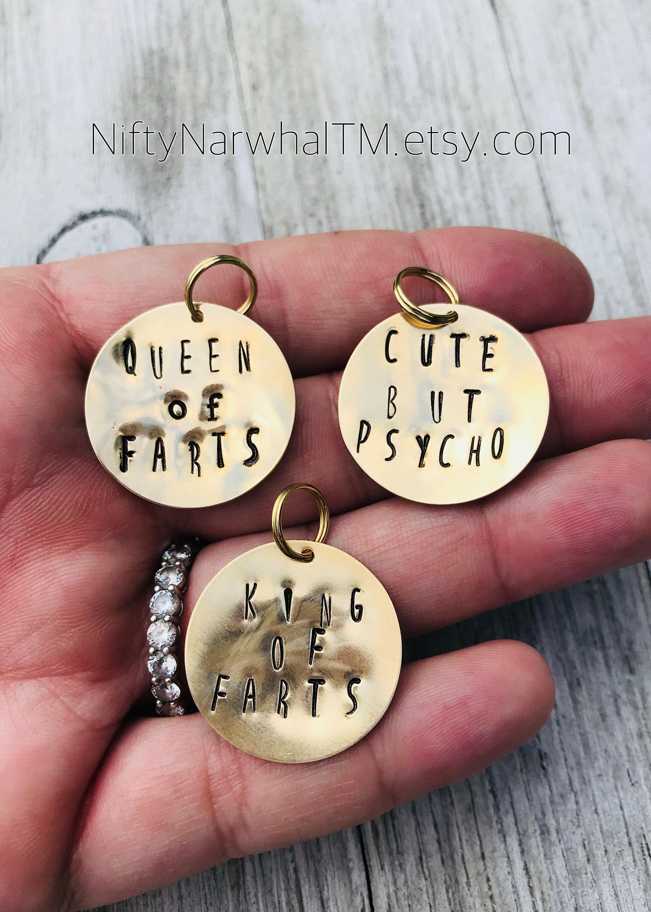 funny hand stamped brass pet tags cute but psycho king of farts