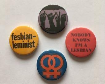 Set of 4 Lesbian LGBT Gay Feminist Retro Vintage Remake Badges Pinback Buttons
