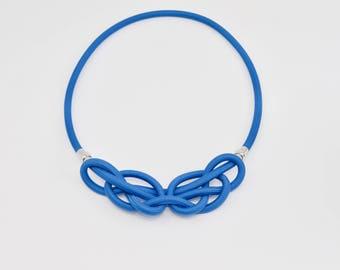 2v1 Single knot rope Celtic necklace - blue by Treda design