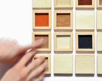 OPIP tactile memory game // Hand-made wooden game // Multisensory didactic game
