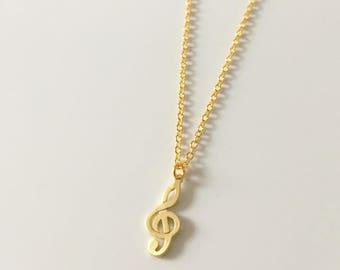 Gold Treble Clef Necklace, Matt Gold Treble Clef Pendant, Music Necklace, Gift idea, Gift For Music Lover