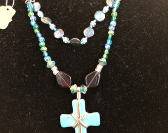 Turquoise & Silver Cross Necklace