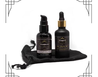 VONBROS Men's Grooming Shave Kit with Pre-Shave Oil and Aftershave