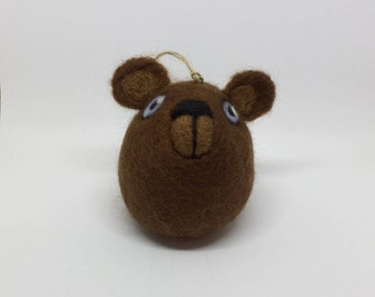 Needle Felted Brown Bear Hanging Decoration