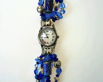 Retro Lapis Watch Mother of Pearl face with silver attachments beaded band.