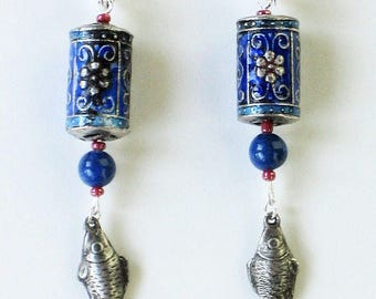Silver Fish and Enamel Earrings