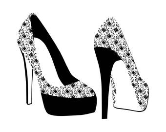 Heels High Fashion Tribal Shoes Female Beauty Style Sexy Elegant .SVG .EPS .PNG Vector Space Clipart Digital Download Circuit Cut Cutting