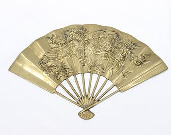 Vintage Phoenix Rising Relief Brass Fan, Made In Taiwan, Mid Century Wall Hanging