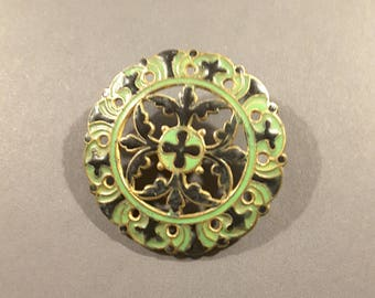 Antique  large French enamel button - late 1800's.