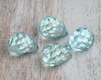 Aqua Quartz Faceted Briolette Tear drop Teardrop Gemstone Beads