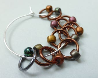 Hand made stitch markers, set of 11, Bronze Lustre